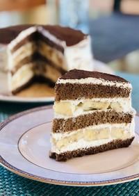アメリカで★チョコバナナショートケーキ