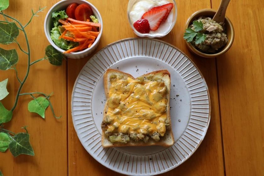 朝ごはんに!ナスとツナのチーズトースト