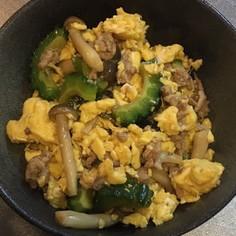 挽き肉とゴーヤと卵のオイスターソース炒め