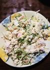ベーコンと水菜のおからサラダ