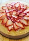 白桃とイチゴのレアチーズケーキ