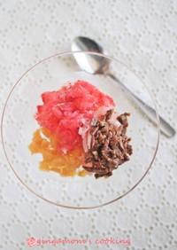 果実すりおろし冷凍→切るだけシャーベット