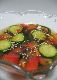 火を使わずに☆夏野菜の冷たい和風スープ