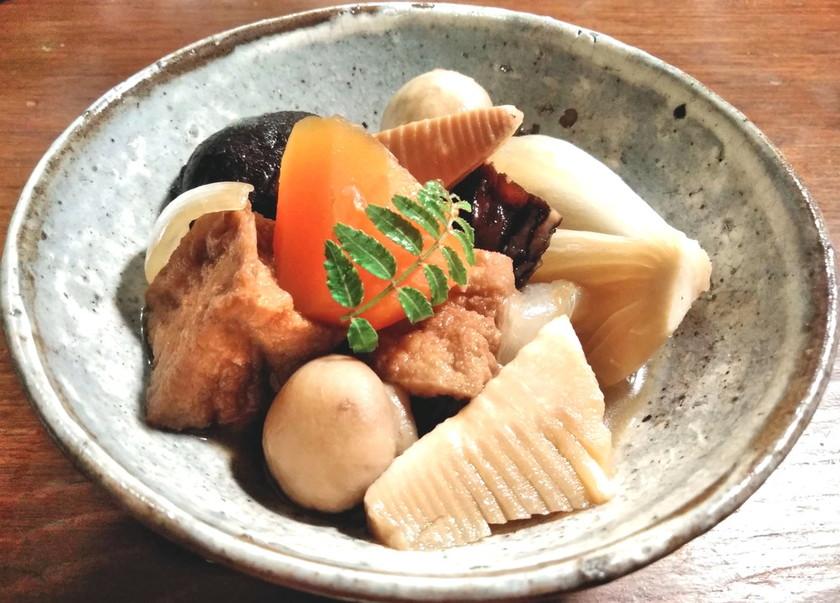 厚揚げ、マッシュルーム、春野菜の煮物