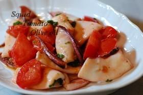イカとトマトのオリーブオイル炒め