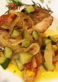 鶏肉のグリル~イタドレ野菜のマリネソース