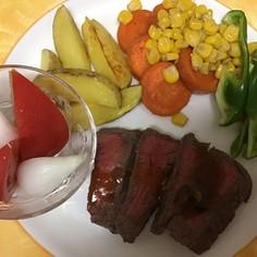 赤身肉ステーキのアソートプレート