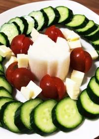 簡単おつまみ、新鮮野菜の岩塩プレートのせ