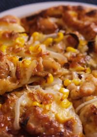 焼鳥で照り焼きチキンピザ