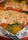 トースターで鮭のホイル焼き