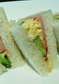 カフェ風☆ハムきゅうり玉子のサンドイッチ