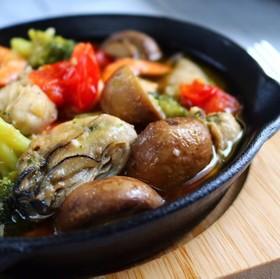 牡蠣とエビのアヒージョ♪