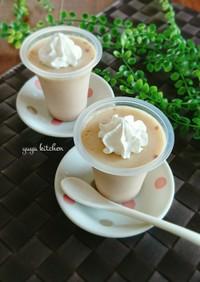 レンジで簡単☆餡子ときな粉の牛乳プリン。