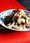 コンニャクと豚バラ茄子の大葉味噌炒め