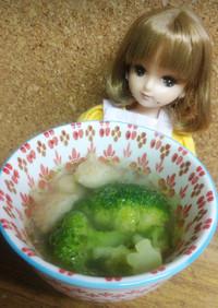 リカちゃん♡ぼんじりブロッコリ中華スープ
