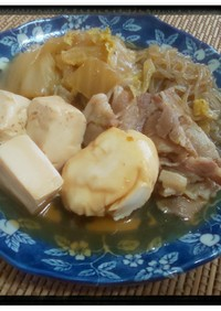 麺つゆで簡単豚スキヤキポーチドエッグ付き