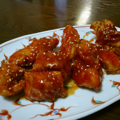 皮なし胸肉の韓国風鶏の唐揚げ