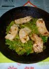 豚ロース+カリーノケールのアヒージョ炒め