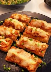 厚揚げのキムチ納豆チーズ焼き