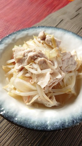 豚肉ともやしの香味野菜煮