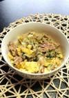 さばの水煮缶と卵とたまねぎの炒め物
