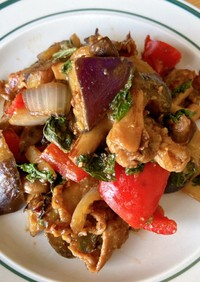 トロトロ茄子と豚肉の大葉みそ炒め