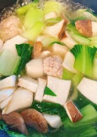 青梗菜と春雨の鶏団子スープ