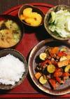 夏野菜と牛肉の炒め物定食