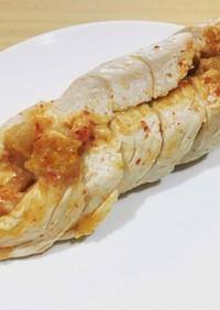 鶏胸肉のキムチーズレンジ蒸し