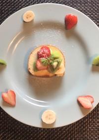 簡単デザート☆市販のロールケーキ果物のせ