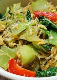 チンゲン菜と春雨と玉子のうま煮