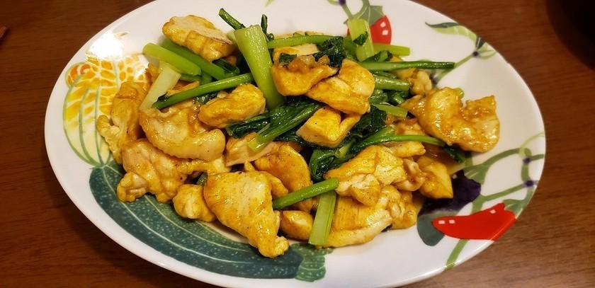 小松菜と鶏むね肉のカレー炒め