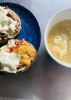 鯖味噌缶オープンサンドと卵スープ 朝ご飯