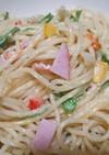 水菜とハムのカラフル☆スパマヨサラダ