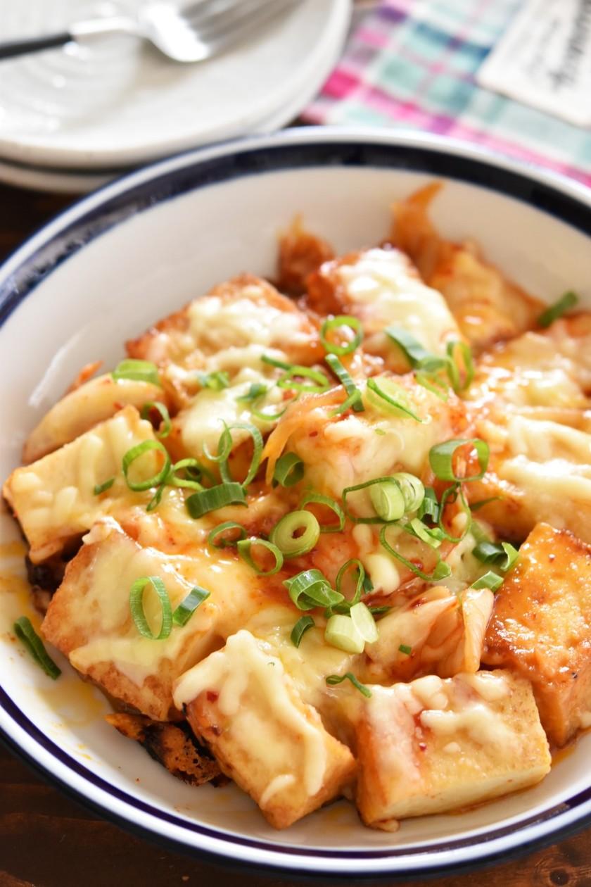 厚揚げ豆腐とキムチのやみつきチーズ焼き