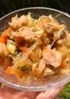 スープの素で簡単に!チゲ風春雨野菜炒め!