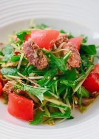 簡単大量消費♡鯖缶と水菜のサラダ
