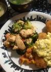 鶏胸肉と野菜のめんたいマヨ炒め