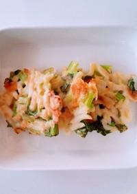 小松菜とベーコンのうどんお焼き