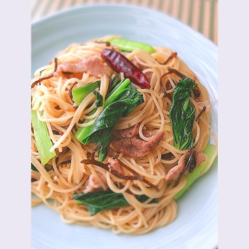 豚こまと小松菜のペペロンチーノ