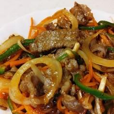 細切り野菜&牛切り落とし甘味炒め。