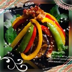☆.ピリ辛.☆彩り野菜の肉なし麻婆なす丼