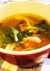 セロリの葉にんにくトマトのコンソメスープ