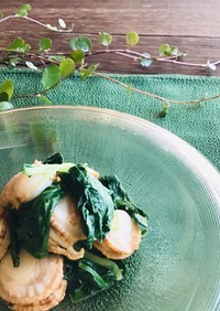 間引き白菜とホタテの酢味噌和え