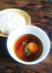 山椒好きさんに!素麺には生卵と実山椒♪