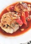 豚のこま切れ肉煮込みトマトハンバーグ