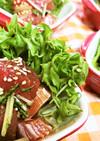 マグロと水菜のめんつゆ生姜・サラダ仕立
