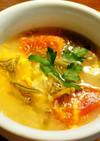 じゅんさい、トマト、新玉葱、卵のスープ