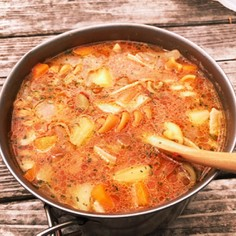 山ご飯 トマトスープパスタ