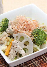 温野菜(冷製でも)と豚肉のごちそうサラダ